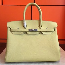 Hermes Curry Clemence Birkin 35cm Handmade Bag