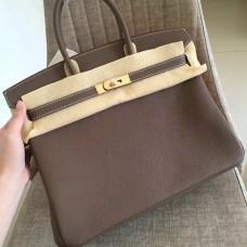 Hermes Etoupe Clemence Birkin 35cm Handmade Bag