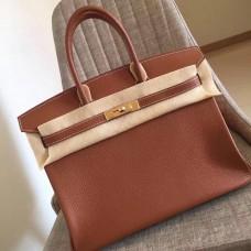 Hermes Gold Clemence Birkin 35cm Handmade Bag