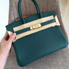 Hermes Malachite Clemence Birkin 35cm Handmade Bag