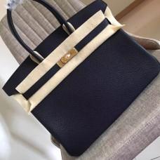 Hermes Black Clemence Birkin 35cm Handmade Bag