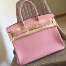 Hermes Pink Clemence Birkin 35cm Handmade Bag