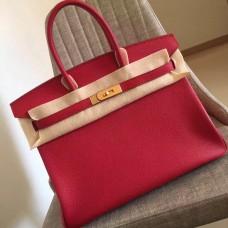 Hermes Red Clemence Birkin 35cm Handmade Bag