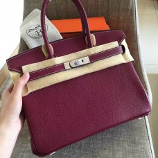 Hermes Ruby Clemence Birkin 35cm Handmade Bag