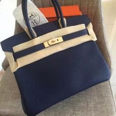 Hermes Sapphire Clemence Birkin 35cm Handmade Bag