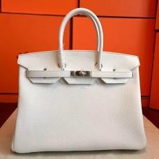 Hermes White Clemence Birkin 35cm Handmade Bag
