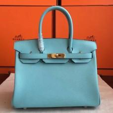 Hermes Blue Atoll Epsom Birkin 35cm Handmade Bag