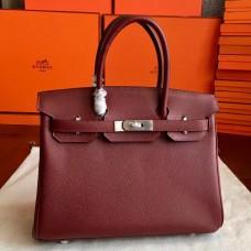 Hermes Bordeaux Epsom Birkin 35cm Handmade Bag