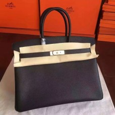 Hermes Black Epsom Birkin 35cm Handmade Bag