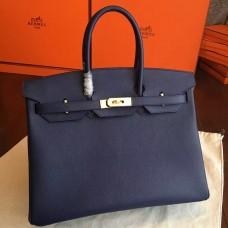 Hermes Sapphire Epsom Birkin 35cm Handmade Bag