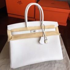 Hermes White Epsom Birkin 35cm Handmade Bag