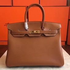 Hermes Gold Swift Birkin 35cm Handmade Bag