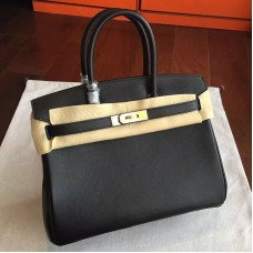 Hermes Black Swift Birkin 35cm Handmade Bag