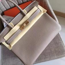 Hermes Grey Clemence Birkin 30cm Handmade Bag