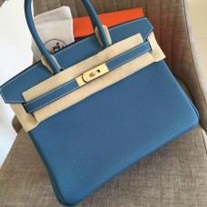 Hermes Blue Jean Clemence Birkin 30cm Handmade Bag