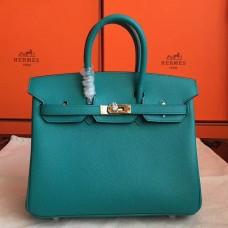 Hermes Blue Paon Epsom Birkin 25cm Handmade Bag