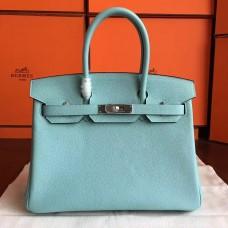 Hermes Blue Atoll Clemence Birkin 30cm Handmade Bag