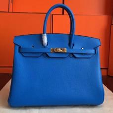 Hermes Blue Hydar Clemence Birkin 35cm Handmade Bag
