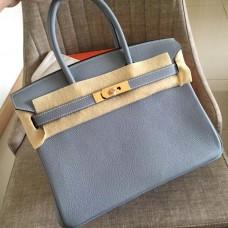 Hermes Blue Lin Clemence Birkin 30cm Handmade Bag