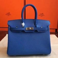 Hermes Blue Epsom Birkin 25cm Handmade Bag