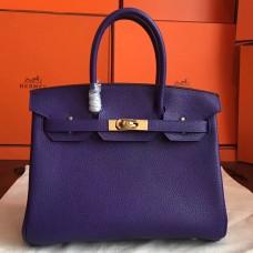 Hermes Iris Clemence Birkin 30cm Handmade Bag