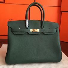Hermes Vert Clemence Birkin 35cm Handmade Bag