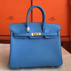 Hermes Blue Paradiso Epsom Birkin 25cm Handmade Bag