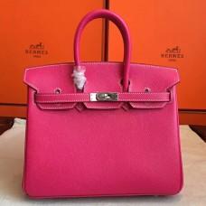 Hermes Rose Tyrien Epsom Birkin 25cm Handmade Bag