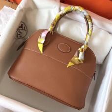 Hermes Gold Clemence Bolide 27cm Handmade Bag