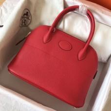 Hermes Red Clemence Bolide 27cm Handmade Bag
