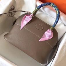 Hermes Taupe Clemence Bolide 27cm Handmade Bag