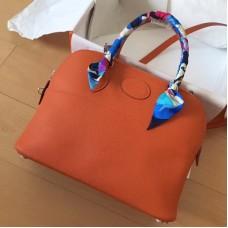 Hermes Orange Clemence Bolide 35cm Handmade Bag