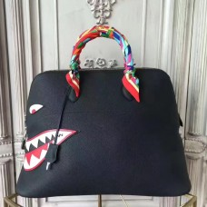 Hermes Shark Bolide 45cm Bag In Black Calfskin
