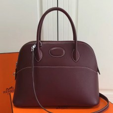 Hermes Bolide 31cm Bag In Burgundy Swift Leather