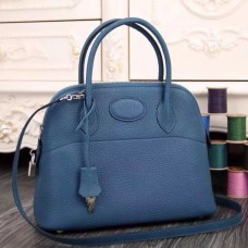 Hermes Bolide Tote Bag In Blue Leather