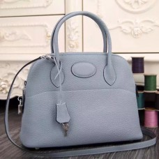 Hermes Bolide Tote Bag In Lake Blue Leather