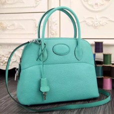 Hermes Bolide Tote Bag In Turquoise Leather