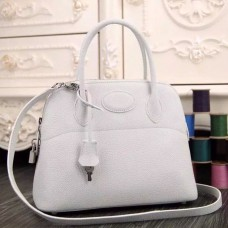Hermes Bolide Tote Bag In White Leather