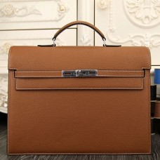 Hermes Brown Kelly Depeche 38cm Briefcase Bag