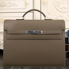 Hermes Grey Kelly Depeche 38cm Briefcase Bag
