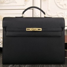 Hermes Black Kelly Depeche 38cm Briefcase Bag