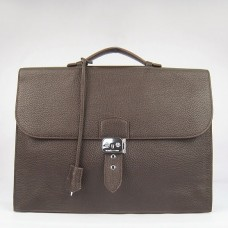 Hermes Chocolate Sac A Depeches 38cm Briefcase Bag