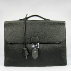 Hermes Black Sac A Depeches 38cm Briefcase Bag
