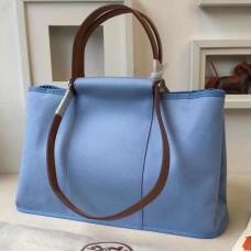 Hermes Cabag Elan Bag In Celeste Canvas