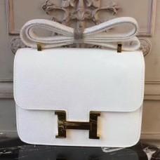 Hermes White Constance MM 24cm Epsom Leather Bag