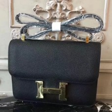 Hermes Black Constance MM 24cm Epsom Leather Bag