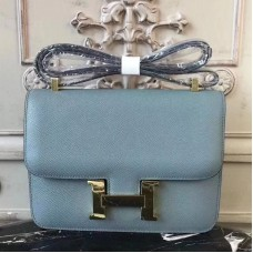 Hermes Blue Lin Constance MM 24cm Epsom Leather Bag