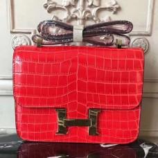 Hermes Cherry Constance MM 24cm Crocodile Bag