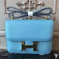 Hermes Blue Atoll Constance MM 24cm Epsom Leather Bag