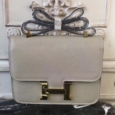 Hermes Grey Constance MM 24cm Epsom Leather Bag